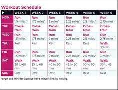 Training schedule to be running a 5K in 6 weeks.  I can do this (I think). :)