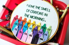 I Love the Smell of Crayons in the Morning Classroom Decor Back To School,Teacher Gift Crayon Hoop Art Cheeky Hoop Art,Wall Decor Funny
