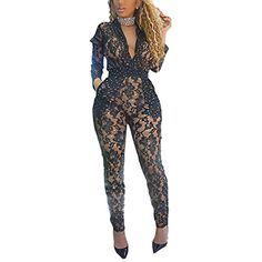 01e23c558149 Women s Sexy Lace See Through Mesh Long Pants Bodycon One Piece Jumpsuit  Rompers Clubwear  gt