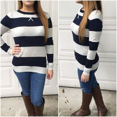 Navy - long sleeve sweaters Solid stripe long sleeve knit sweaters. Please do not purchase this listing. Comment with color & size and I will create a new listing for you. Small (2/4) Medium (6/8) Large (10/12) - Price is firm unless bundled. Sweaters Crew & Scoop Necks
