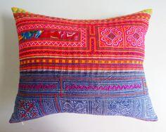 Batik Hmong Pillow Cover  Vibrant Colored by habitationBoheme