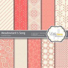 Coral Digital Papers / Digital Backgrounds by LittleLlamaShoppe: $2.50