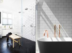 Afbeeldingsresultaat voor witte tegels badkamer Wet Rooms, Clawfoot Bathtub, Interior, House, Inspiration, Furnitures, Apartment Ideas, Design, Bathroom Ideas