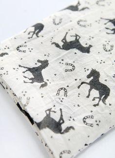 Gauze Horse Valley White Foundation Black Horse pattern Print  Fabric C23068