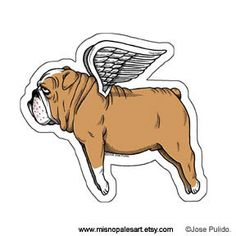 Flying Bulldog Die Cut Vinyl Sticker