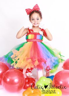 READY TO SHIP:  Petti Tutu Dress - Halloween or Birthday Costume - Rainbow - Cutie Patootie Clown - 12 month to 2 Toddler Girl by Cutiepatootiedesignz on Etsy https://www.etsy.com/listing/233739403/ready-to-ship-petti-tutu-dress-halloween