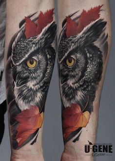 Superb realistic owl tattoo by U-Gene...