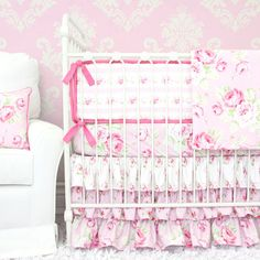 Designing a shabby chic style nursery? Our pink shabby chic baby girl boutique bedding set adds the perfect sweet touch with a combination of floral print fabrics. 2pc set includes sheet and skirt. Don't forget to add the bumpers!