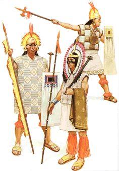 Inca generals and a warrior. Military Art, Military History, Inca Empire, Aztec Warrior, Inka, Mesoamerican, Art Plastique, Ancient History, Medieval