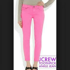 J CREW TOOTH PICK ANKLE jeans Good condition, fuchsia color,  price for trade $ 45 J. Crew Pants Ankle & Cropped