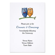 Owl Wedding RSVP Owl Love Wedding Reception Card