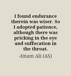 I found endurance therein was wiser. So I adopted patience, although there was pricking in the eye and suffocation in the throat. -Imam Ali (AS)
