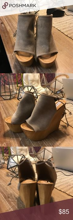 Steven Madden Wedges Great condition! 👍🏽 Wooden wedge, tan suede on the top, and strings wrapped around the ankle. Size 7. No trades. Only worn twice. Steve Madden Shoes Wedges
