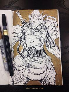 Mecha Lion Samurai, Emerson Tung on ArtStation at http://www.artstation.com/artwork/mecha-lion-samurai