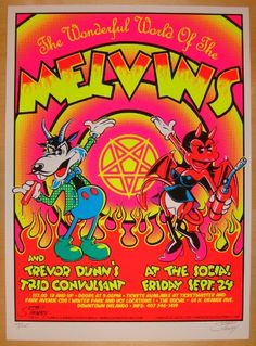 """The Melvins w/ Trevor Dunn's Trio Convulsant - silkscreen concert poster (click image for more detail) Artist: Stainboy Venue: The Social Location: Orlando, FL Concert Date: 9/24/2004 Size: 16"""" x 21"""""""