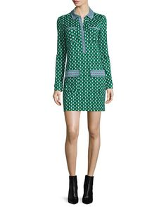 TC6ZH Diane von Furstenberg Denny Long-Sleeve Square Stamps Silk Dress, Green
