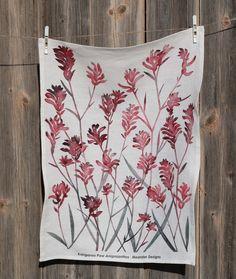 Watercolour depiction of a Kangaroo Paw, digitally printed on linen tea towel.