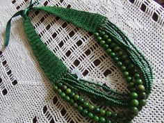 green bead/crochet necklace