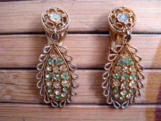 Vintage 1960s Dangling Rhinestone Earrings Clip On 2013612