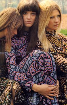 All three printed dresses in dicel crepe by Janice Wainwright at Simon Massey 1970s