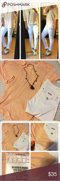 Peach dolman top💕 Gorgeous color and nice and ultra light for warm weather. Pretty fit. Can be tucked in or wear out. Tops