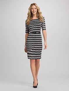Petites | Dresses | Lace Dresses | Petite Chevron Lace Dress