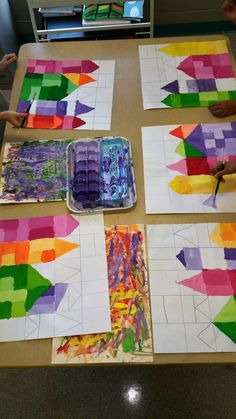 Paintbrush Rocket: Ton Schulten Grade Cityscapes using paper, tempera paint, and white to create tints. 3rd Grade Art Lesson, 4th Grade Art, Classe D'art, Cityscape Art, Ecole Art, School Art Projects, Art School, Art Education Projects, Art Lessons Elementary