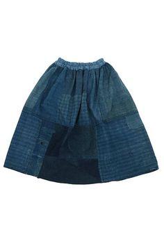 Japanese boro indigo patchwork skirt/ranru kimono