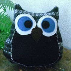 Black and White Owl Felted Pillow by ItsAbout316 on Etsy, $20.00