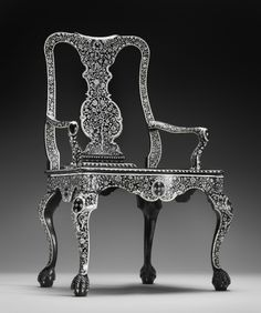 Ebony and Ivory armchair, Vizagapatam, India, c. 1760-1770   The Peabody Essex Museum