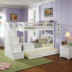 Rosenberry Rooms has everything imaginable for your child's room! Share the news and get $20 Off  your purchase! (*Minimum purchase required.) White Classic Arch Slatted Bunk Bed with Stairs