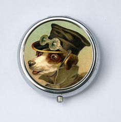 steampunk dog pill box