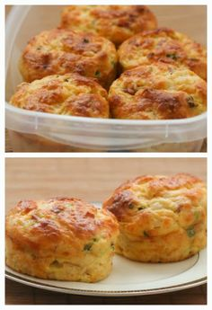When I taught school, I would often eat these Cottage Cheese and Egg Breakfast Muffins with Ham and Cheddar in the car on the way to school! These have a tiny bit of flour, so they're different than egg muffins made with all egg. Imagine a biscuit married an omelet and they had a child, but the child got a few more omelet genes than biscuit genes; that's what these muffins are like. [from Kalyn's Kitchen] #HealthyBreakfast #GrabAndGoBreakfast #KidFriendly