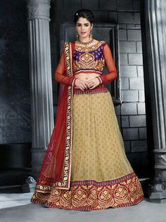 Beige net embroidered unstitched lehenga choli at Mirraw.com