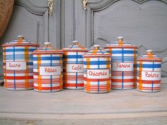 RARE model french enamel canister set. Bright blue, orange, red plaid. Signed Sphinx-Elite Czechoslovakia / BB Freres Austria. by Chanteduc on Etsy https://www.etsy.com/listing/251584090/rare-model-french-enamel-canister-set