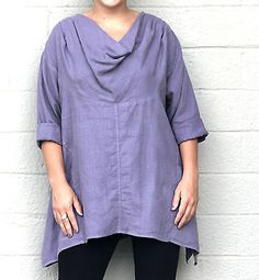 MOSAIC+2365+Midweight+Linen+DRAPE+NECK+POCKET+TUNIC+Top+XL+(XL/1X)+DUSTY+PURPLE