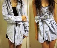This is cute! But I would be too scared of people figuring out that its in fact a button up shirt