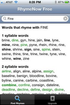 RhymeZone rhyming dictionary and thesaurus | Word Stuff | Pinterest