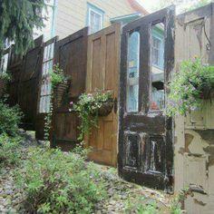 Re-purposed Door fence...I love it!