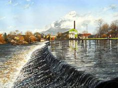 Pete Lapish - Weir on the River Wharfe at Otley near Leeds - West Yorkshire - England - Garnetts Paper Mill can be seen in the distance. 1990