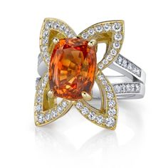 Omi Prive: Orange Sapphire and Diamond Ring