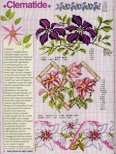 цветы клематис схема вышивки крестом