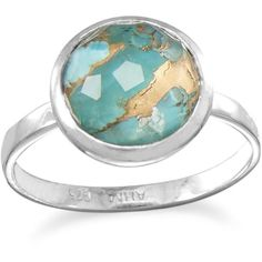 Large Round Freeform Faceted Quartz over Turquoise Stackable Ring ($40) ❤ liked on Polyvore featuring jewelry, rings, green turquoise jewelry, turquoise stacking ring, band rings, clear crystal ring and band jewelry