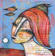 Dan Casado Outsider Folk Raw Art Flying Original Collage Painting