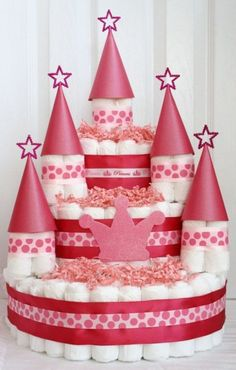 Diapers cake ideas baby shower bolo de fraldas castelo