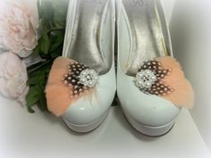 Bridal Shoe Clips Feather Shoe Clips Pearls by ShoeClipsOnly, $24.00