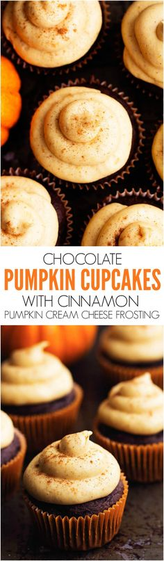 Moist chocolate pumpkin cupcakes with an amazing cinnamon pumpkin cream cheese frosting! These are the perfect fall treat! Moist chocolate pumpkin cupcakes with an amazing cinnamon pumpkin cream cheese frosting! These are the perfect fall treat! Mini Desserts, Fall Desserts, Just Desserts, Delicious Desserts, Yummy Food, Plated Desserts, Cupcake Recipes, Baking Recipes, Cupcake Cakes