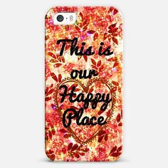 """""""This is Our Happy Place"""" by artist Julia Di Sano, Ebi Emporium @casetify, Colorful Whimsical Tech Device Hard Plastic Cell Phone Case Decorative Floral Valentines Day Quote Fine Art Pink Red Coral Orange Rust Shabby Chic Feminine Flowers Heart Romantic Love Sweet Romance Typography Elegant iPhone 4 5 5c 6 6Plus Samsung Galaxy Cover #Casetify #EbiEmporium #Casetagram"""