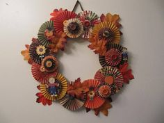 Fan Fold or Rosette Flower Autumn Wreath by seeker329 - Cards and Paper Crafts at Splitcoaststampers