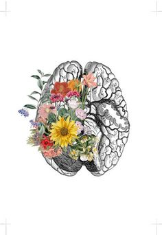 Springtime Brain Nature Anatomy - Brain Flower - Anatomy Illustration - Medical Art Print - Brain Wall Art - Anatomy Print - in 2020 Brain Drawing, Brain Art, Inspiration Art, Art Inspo, Medical Illustration, Illustration Art, Flower Anatomy, Arte Com Grey's Anatomy, Brain Tattoo